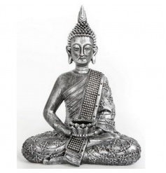 Jewelled Buddha tlight holder in silver