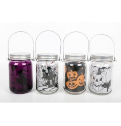 Add some spooky fun to the home with this assortment of 4 light up Halloween lanterns.