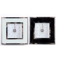 2 assorted small glass clocks