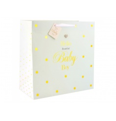 Large gift bag with mad dots design and text