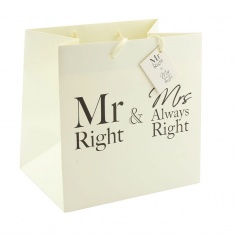 Popular Mr and Mrs text on a cream coloured gift bag