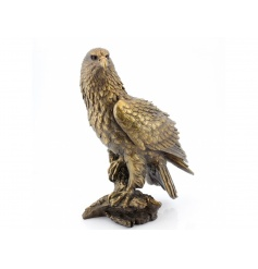 A stunning eagle ornament in bronze with textured detailing.