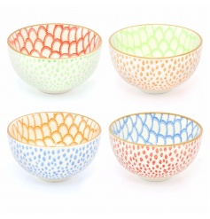 A set of 4 colourful bowls, each with a pretty oriental floral design.