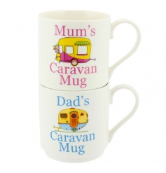 Set of two stack mugs with popular Caravan prints