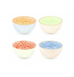 A set of 4 beautiful oriental style bowls with intricate floral patterns in a mix of bright colours.