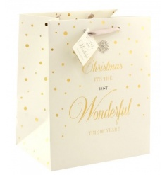 A beautiful, fine quality gift bag with ribbon handle and tag. Finished with a gem snowflake.