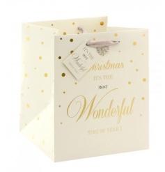 A beautiful Christmas gift bag with ribbon handle, matching tag and diamond snowflake detail.