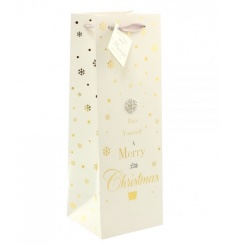 A fine quality bottle bag with festive slogan and diamante snowflake.