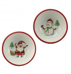 A set of 2 charming ceramic snack bowls with Santa and Snowman design.