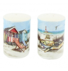 A charming salt and pepper set with Sandy Bay illustration.