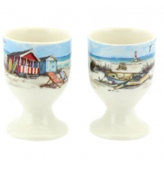A pair of stylish egg cups with a charming sandy bay design. Comes gift boxed.