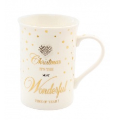 A glamorous gold polka dot mug with festive slogan and gem heart detail.