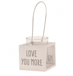 A shabby chic style wooden lantern with LOVE YOU MORE carving. Looks beautiful with a lit t-light inside.