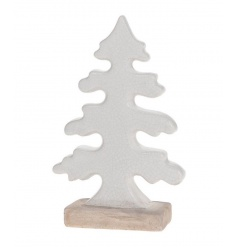 A chic and stylish ceramic tree decoration with a white glaze finish and wooden base.