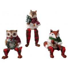 An assortment of 3 woodland animal shelf sitters with festive scarves, objects and hanging tartan legs.