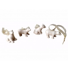 An assortment of 4 ceramic polar bear decorations each with gold organza ribbon to hang.