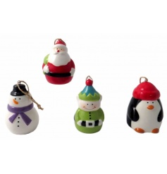 A mix of ceramic tree decorations featuring Christmas characters including elf, snowman, penguin and santa decorations.