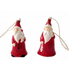 An assortment of 2 charming Santa tree ornaments with hanger.
