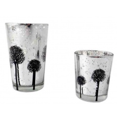 A stylish silver votive with a black tree design. A gorgeous home accessory which looks beautiful with a lit t-light.
