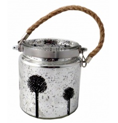 Add some character to your home this season with this attractive silver speckle lantern with tree design.