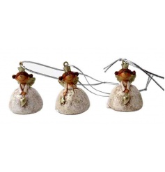 An assortment of quirky gold angel tree hangers. Charming seasonal decorations.