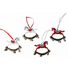 An assortment of 4 vintage inspired rocking horse decorations with bells.