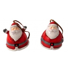 An assortment of two Santa decorations, each with a hidden bell.