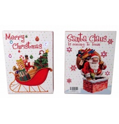 An assortment of 2 vintage inspired Christmas signs with sleigh and Santa images. Each is complete with LED lights.
