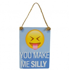 Exclusive mini dangler emoticon sign reading You Make Me Silly
