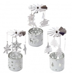 An assortment of 3 Christmas t-light spinners. A beautiful decorative accessory for the home this season.