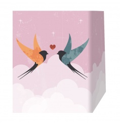Stylish swallow design gift bag in pink with a kissing design.