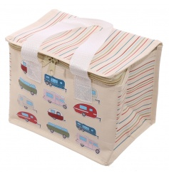A woven fabric cool bag lunch box with caravan design