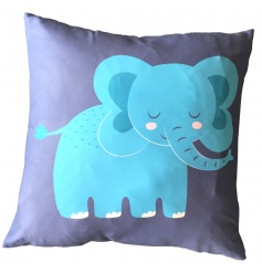 A bold and bright elephant design cushion with insert included.