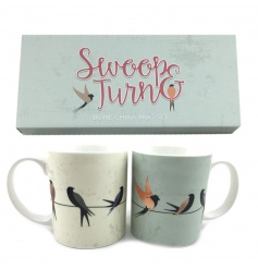 Set of two china mugs with swallow design complete with gift box