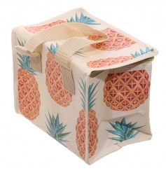 Tropical design woven cooler lunch bag