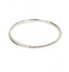 A gorgeous silver bangle engraved with the slogan 'Love Mum Forever'