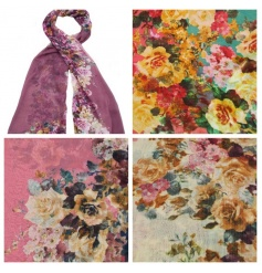 A mix of 4 beautiful floral scarves in pretty colours including peach, pink and green.