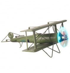 Retro style plane ornament with LED clock propeller