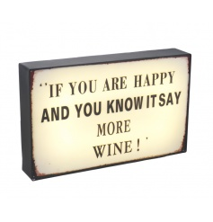 Humorous LED sign with Wine text