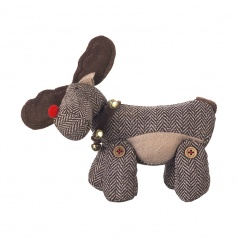 A charming moose decoration in tweed with a bell collar.