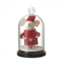 An adorable festive mouse set within a snow filled dome. Can be stood or hung.