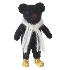 A gorgeous bear decoration with winter scarf and gold glitter boots.