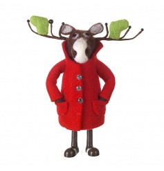 Moose standing decoration with red coat and unique antlers with stockings.
