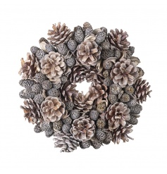 A full and festive pinecone wreath in beautiful grey tones.