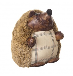 cute little faux leather and fluffy hedgehog, simple tartan pattern belly and fuzzy fluffy back