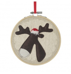 Add a touch of the handmade to your home this season with this stitched reindeer decoration on hoop.