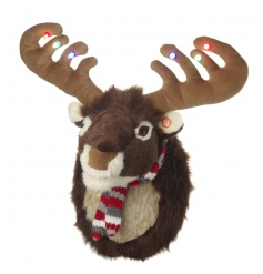Bring the joy of Christmas home with this musical and light up moose! He sings festive songs