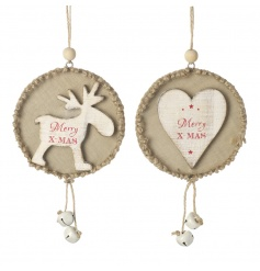 The perfect Christmas hanging decorations! Featuring reindeer and heart designs with festive slogan and jingle bells.