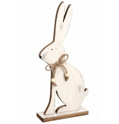 Wooden white sitting rabbit decoration with rustic rope bow