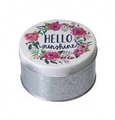 A pretty metal storage tin for your precious trinkets. Decorated with a colourful floral design.